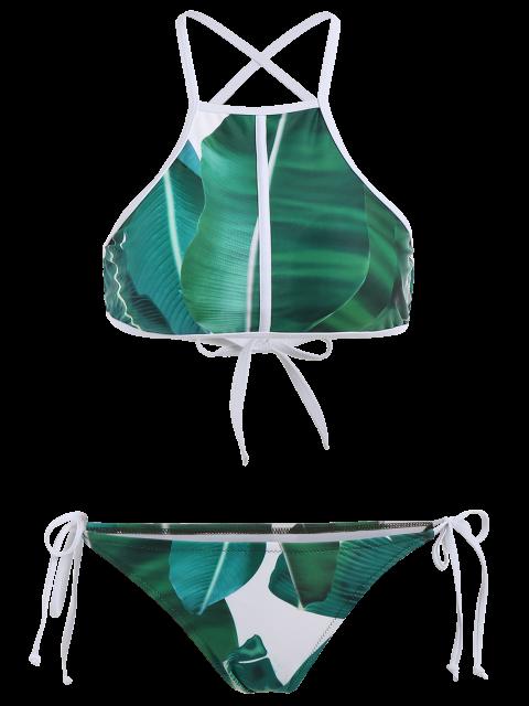 fashion High Neck Palm Leaf Print Bikini - GREEN M Mobile
