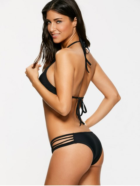 women Sheer Stripe High Neck Bikini Set - BLACK XL Mobile
