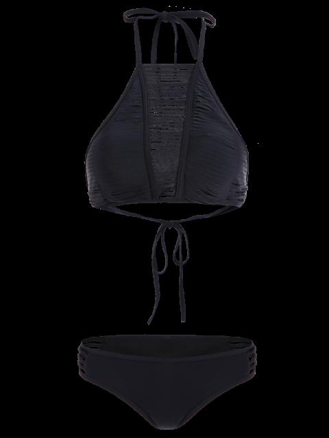 lady Sheer Stripe High Neck Bikini Set - BLACK S Mobile