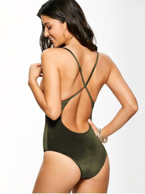 online Reversible Cross Back Pleuche Swimwear - BLACKISH GREEN XL Mobile