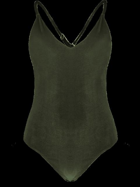 outfit Reversible Cross Back Pleuche Swimwear - BLACKISH GREEN S Mobile