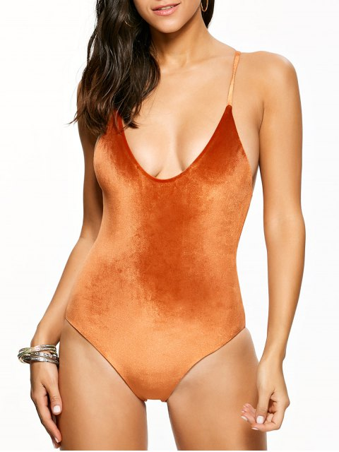 latest Reversible Cross Back Pleuche Swimwear - ORANGE S Mobile