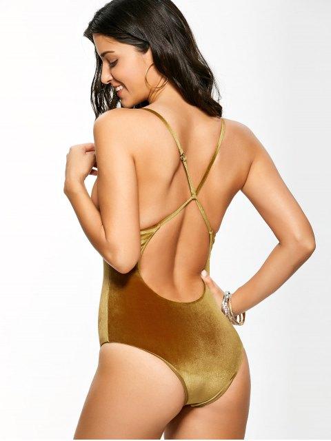 buy Reversible Cross Back Pleuche Swimwear - GOLD BROWN XL Mobile