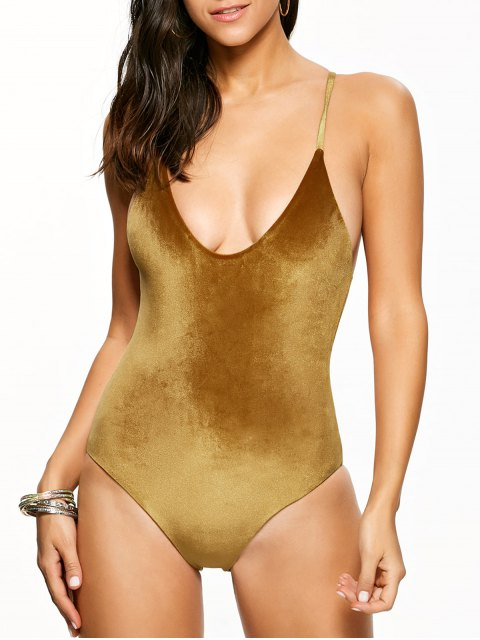 women Reversible Cross Back Pleuche Swimwear - GOLD BROWN M Mobile