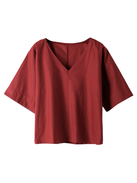 hot Pure Color Plunging Neck Half Sleeve Blouse - RED L Mobile