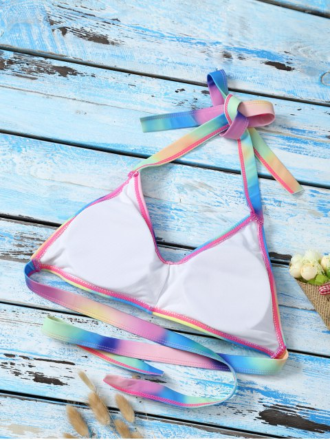 best Halter Ombre Cute Bathing Suit Top - MULTICOLOR S Mobile