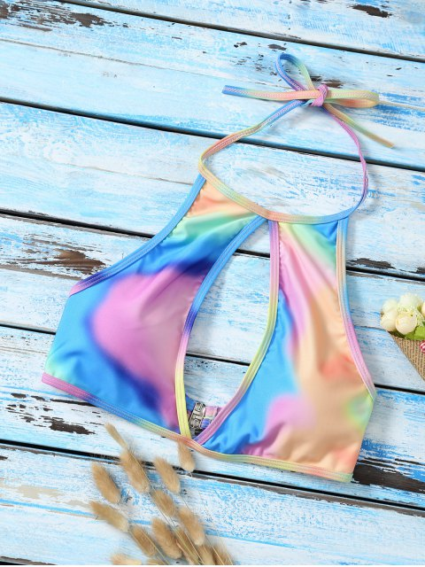 new Halter Low Cut Tie Dye Cute Bathing Suit Top - MULTICOLOR L Mobile