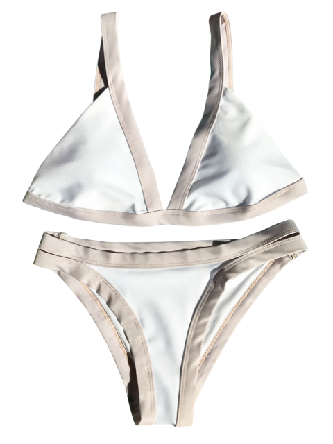 outfit Plunge Bicolor Banded Bikini - WHITE S Mobile
