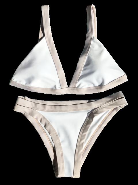 new Plunge Bicolor Banded Bikini - WHITE L Mobile