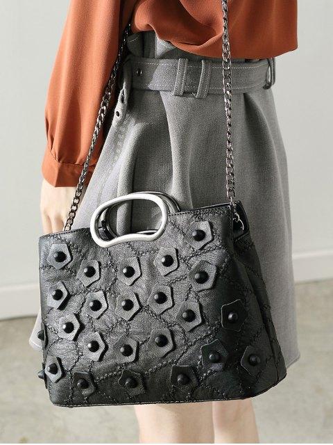 unique Stitching Rivet Handbag with Chains - BLACK  Mobile