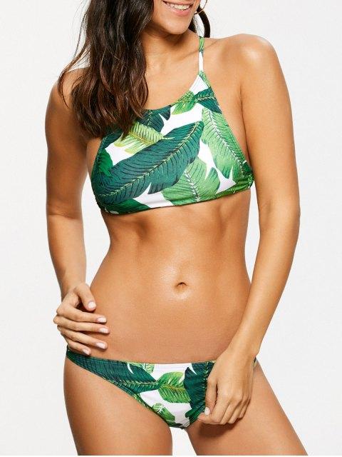 fancy Palm Leaf Print High Neck Bikini - GREEN S Mobile