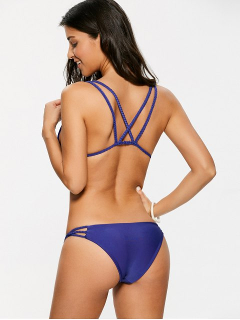 latest Braided Strappy Thong Bikini Set - DEEP PURPLE S Mobile