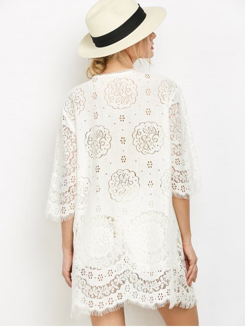 shop Women Openwork Lace Cover-Up - WHITE ONE SIZE(FIT SIZE XS TO M) Mobile