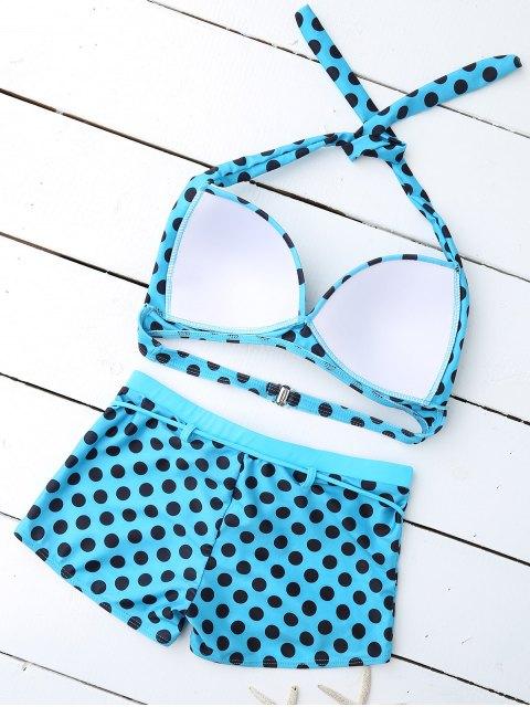 shops Bandeau Polka Dot Push Up Padded Bikini Set - LAKE BLUE M Mobile