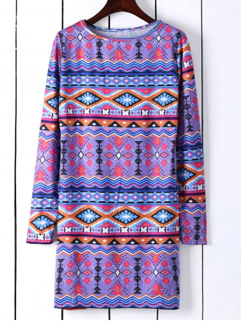 buy Long Sleeve Printed Shift Tunic Dress - BLUE M Mobile
