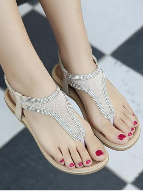 chic Elastic Band Rhinestones Mesh Sandals - APRICOT 41 Mobile