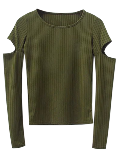women Split Long Sleeve Layering Top - ARMY GREEN M Mobile