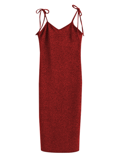online Glitter Tie Shoulder Slip Dress - BURGUNDY S Mobile