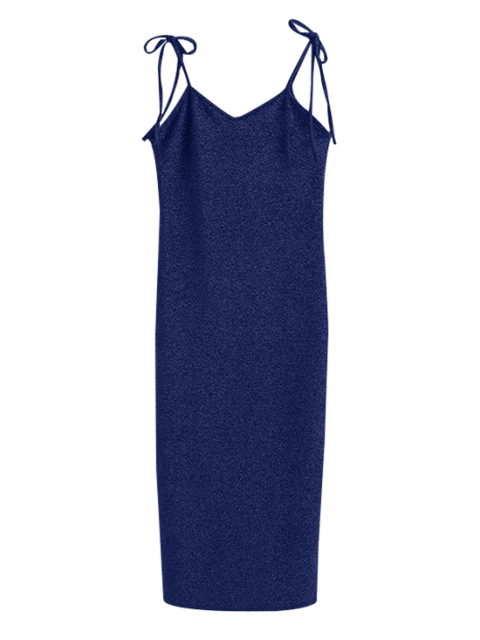 hot Glitter Tie Shoulder Slip Dress - BLUE S Mobile