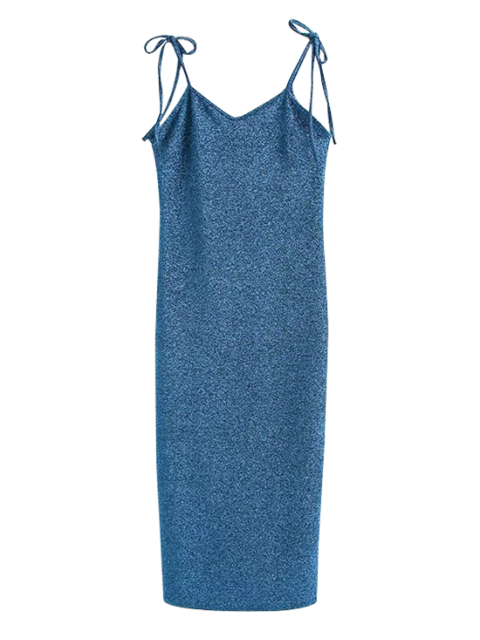 outfits Glitter Tie Shoulder Slip Dress - PEACOCK BLUE S Mobile