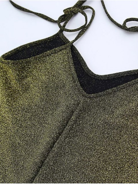 shops Glitter Tie Shoulder Slip Dress - GREEN S Mobile