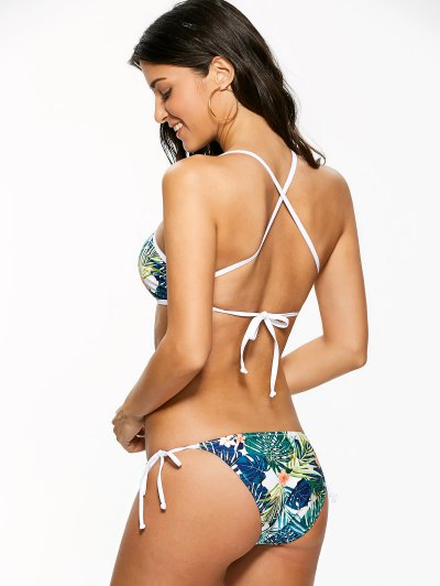 High Neck Tropical Print Bikini - MULTICOLOR S Mobile