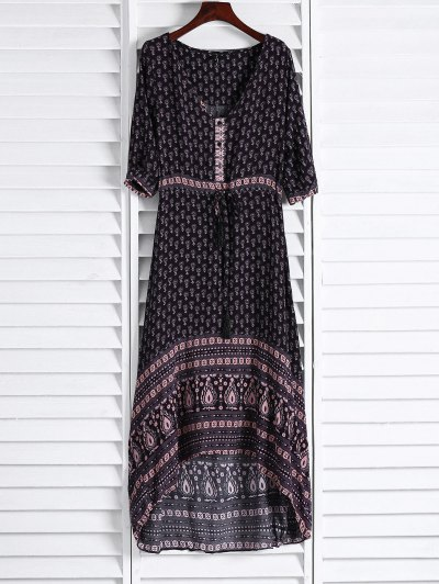 Ethnic Print V Neck 3/4 Sleeve Maxi Dress - Coffee