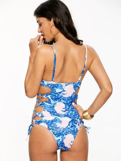 Lace-Up High Cut One-Piece Swimwear - BLUE L Mobile