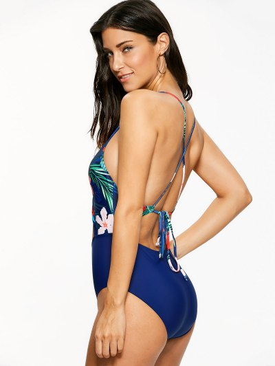 Floral Hollow Out One-Piece Swimwear - BLUE M Mobile