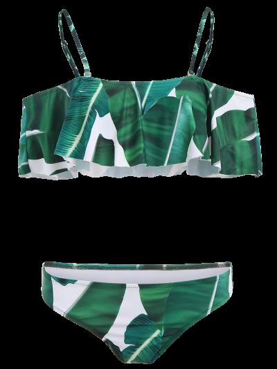 Ruffles Off The Shoulder Bikini - GREEN L Mobile