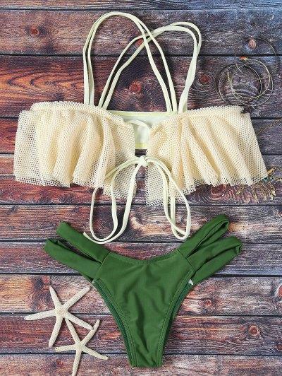 Frill Off The Shoulder Bikini Set - Green