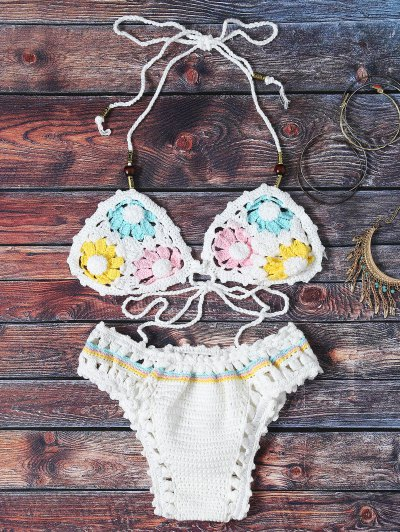 Flower Pattern Halter Crochet Bikini Set - White
