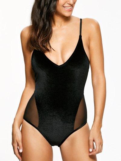 Mesh Panel Cami Velvet One Piece Swimwear - BLACK XL Mobile