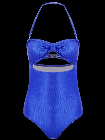 High Cut Bandeau Swimsuit - BLUE M Mobile