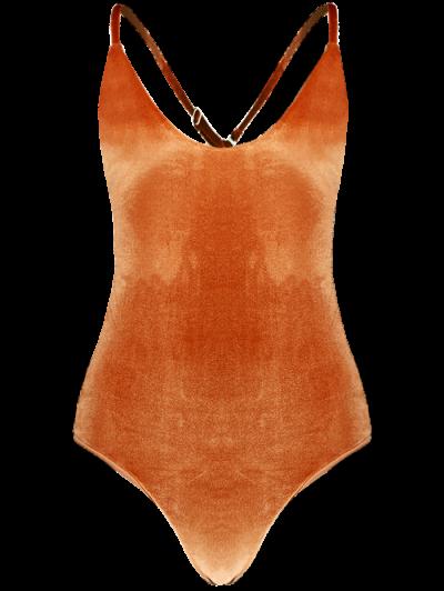 Reversible Cross Back Pleuche Swimwear - ORANGE L Mobile