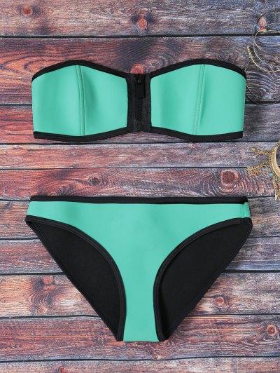 Green Strapless Zipper Bikini Set - Mint Green