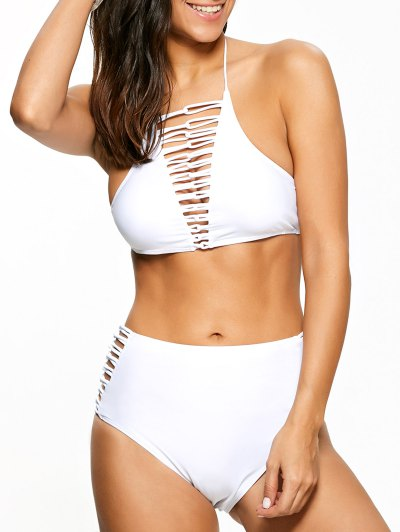 High Waisted Lace-Up Swimsuit - White