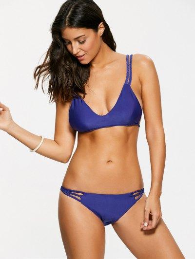 Braided Strappy Thong Bikini Set - DEEP PURPLE S Mobile