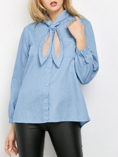Pockets Loose Striped Shirt - Blue