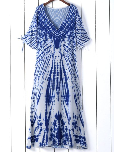 Tie Dye Plunge Neck Split Sleeve Dress - Blue