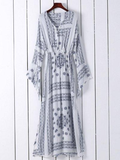 Ethnic Print V Neck Long Sleeve Maxi Dress - White