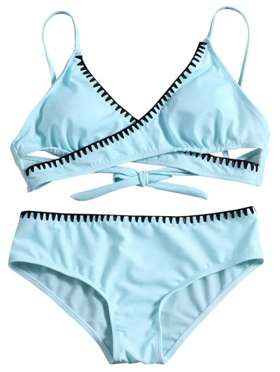 Cross Front Bikini Set - LIGHT BLUE M Mobile