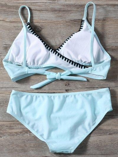 Cross Front Bikini Set - LIGHT BLUE S Mobile