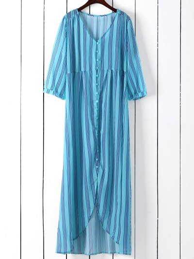 Vertical Stripe Maxi Shirt Dress - Blue Green