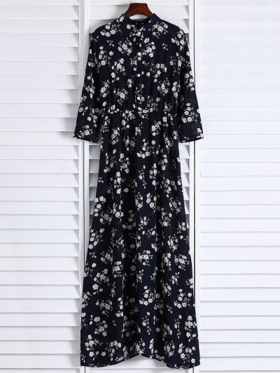 Floral Printed Fall Dress - Black