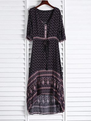 Ethnic Print V Neck 3/4 Sleeve Maxi Dress - Coffee