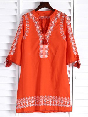 Floral Embroidery Plunging Neck 3/4 Sleeve Dress - Orange
