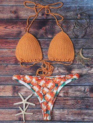 Knitted Pineapple Print Lace Up Bikini Set - Yolk Yellow