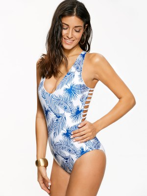 Strappy Leaf Print Swimwear - Blue And White