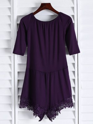 Off The Shoulder Romper - Purple
